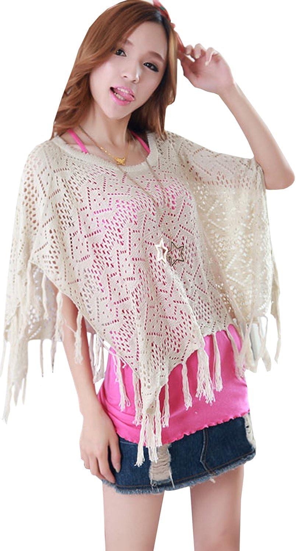 Women Crochet Lace Spaghetti Cover Up Blouse White