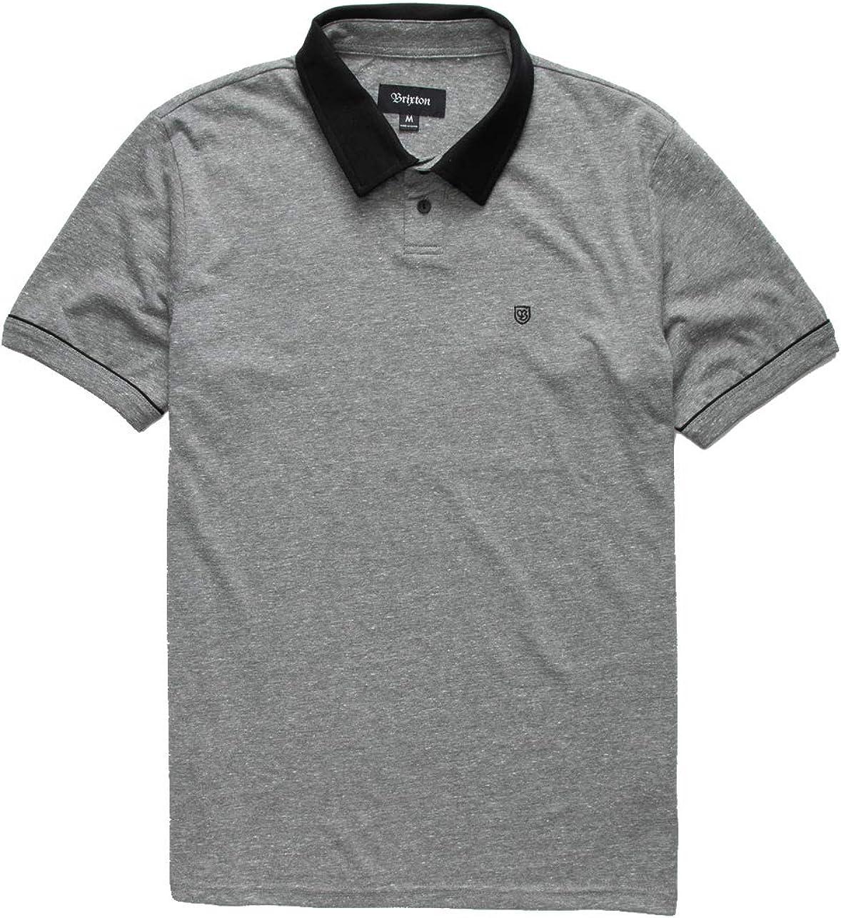 Brixton - Mens Carlos Polo Shirt, Size: Medium, Color: Heather Grey/Black