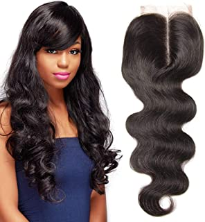 UNICE Hair Brazilian Body Wave Virgin Hair 4x4 Lace Closure Middle Part Natural Black (16inch)