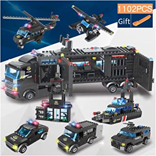 YOUPIN 1122 pcs City Police Station SWAT Building Blocks Car Helicopter City House Truck Blocks Creative Bricks Toys For C...