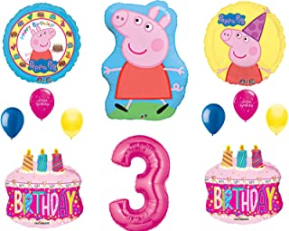 Peppa Balloons 3rd Happy Birthday Party Decorations Supplies