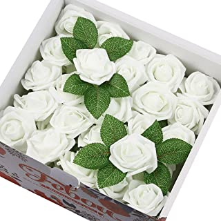 Febou Artificial Flowers, 100pcs Real Touch Artificial Foam Roses Decoration DIY for Wedding Bridesmaid Bridal Bouquets Centerpieces, Party Decoration, Home Display (Concise Type, White)