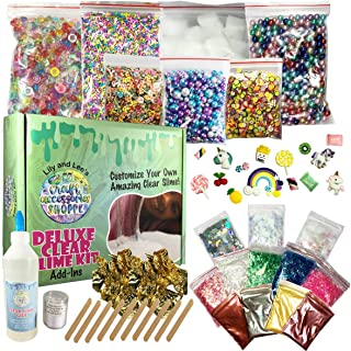 Clear Slime Kit - DIY Slime Making Kit with Everything to Make Your Own Slime! Ingredients include Glue, Activator, Beads, Pigments, Sprinkles, Nail Slices, Charms, Jelly Cubes, Color Crystals & More