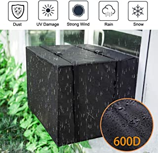 """Oslimea Outdoor Window Air Conditioner Cover Window AC Cover with Adjustable Straps Bottom Covered (17"""" W x 13"""" H x 12"""" D)"""