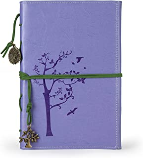 Vintage Faux leather writing journal, refillable diary notebook,for men/women/girls/travelers/ (A5, Purple)