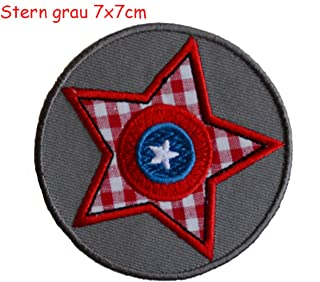 2 Sew-On Embroidered Appliqus Patches Dog 8x7.5 and Star gray 7x7cm TrickyBoo Design Zurich