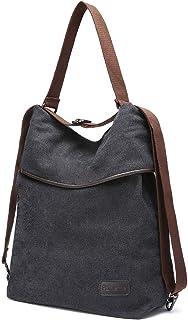 Parnerme Canvas Tasche Damen Rucksack Handtasche Damen Umhängentasche Schultertasche Hobo Tasche für Alltag Büro Schule Ausflug Einkauf,Verstellbare Schultergurte,Schwarz