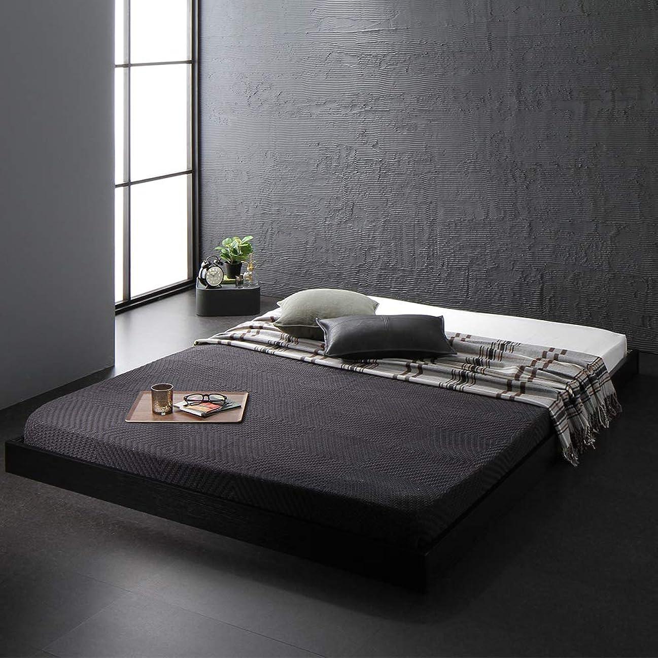 大西洋トラップホースベッド 低床 ロータイプ すのこ 木製 コンパクト ヘッドレス シンプル モダン ブラック セミダブル ベッドフレームのみ