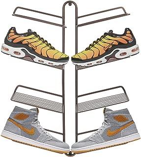 mDesign Organizador de zapatos – Moderno zapatero de pared para cuatro pares de zapatillas, calzado deportivo, etc. – Una alternativa al mueble zapatero que ahorra espacio – color bronce