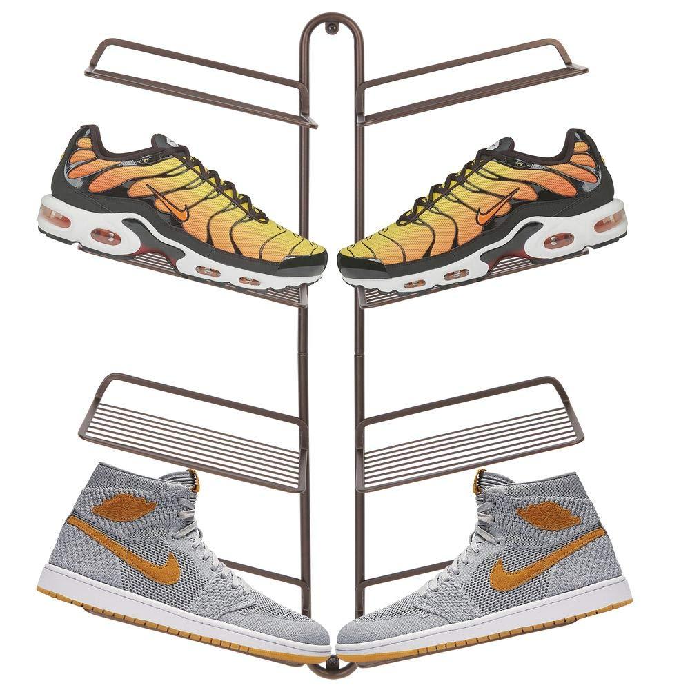 etc Calzado Deportivo Moderno Zapatero de Pared para Cuatro Pares de Zapatillas Color Bronce mDesign Organizador de Zapatos Una Alternativa al Mueble Zapatero Que Ahorra Espacio