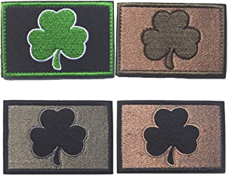 Shamrock Irish Clover Tactical Patch Military with Morale Lucky Hook & Loop 4 Pieces