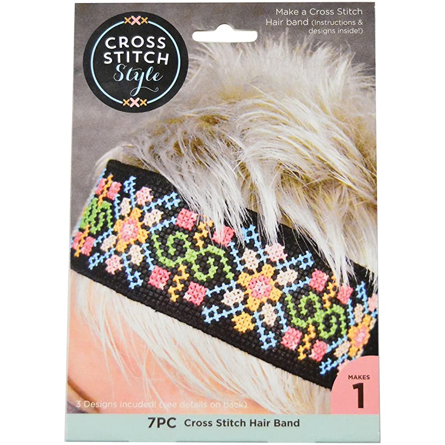 3 Birds Cloth Hair Band Punched For Cross Stitch-Black