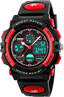Watches,Kids Outdoors Waterproof Wristwatch,Multifunctional LED Digital Watch for Boys Girls (Red)