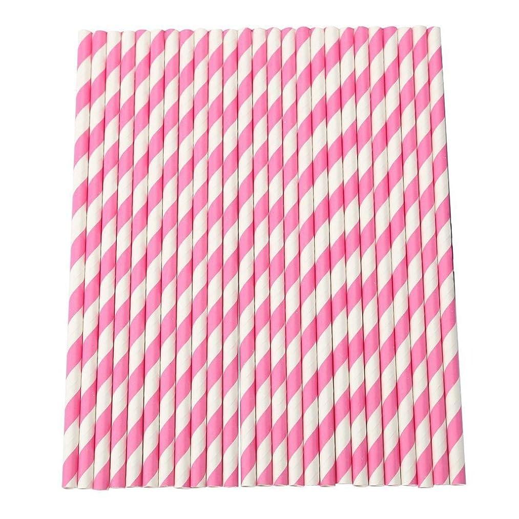 意志スリチンモイ冷凍庫SODIAL ストライプ紙飲み物用ストロー、 パーティー、テーブル装飾、ウェディング用 25本(ピンク色)