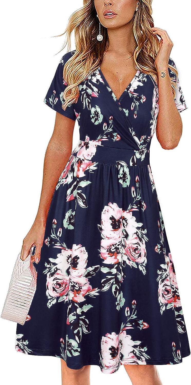VOTEPRETTY Women's Short Sleeve V Neck Wrap Dress Summer Casual Floral Sundress with Pockets