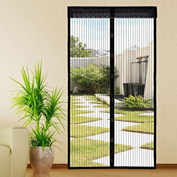 for Keep Bugs Fly Out CHENG Screen magnets for patio doors 70x180cm Automatically closed Foldable Ventilation Black Heavy mesh curtain