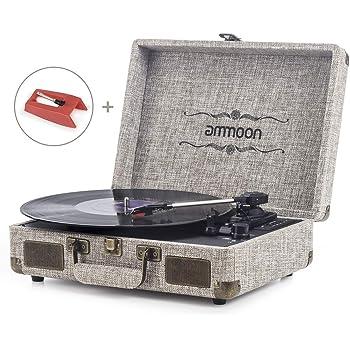 Tocadiscos Vinilo, ammoon Tocadiscos Vintage de 3 Velocidades con ...