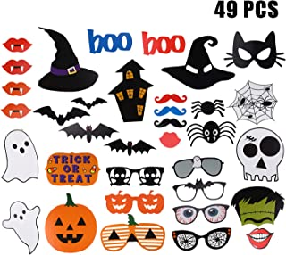 49 Sets Halloween Photo Booth Props DIY Photo Booth Prop Kit Halloween Party Photo Props with Wooden Sticks for Party Favors