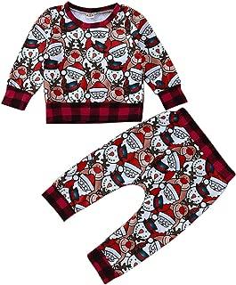 Camidy 2Pcs Kids Toddler Christmas Santas Deer Plaid Sweatshirt Top + Pants Clothes Set