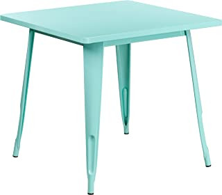 Flash Furniture 31.5'' Square Mint Green Metal Indoor-Outdoor Table -