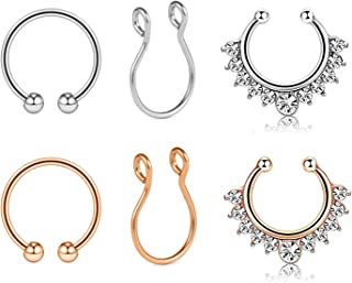 AVYRING Fake Nose Rings Hoop Clip On Nose Septum Ring Faux Non-Pierced Nose Lip Rings Earrings Jewelry 3 Style