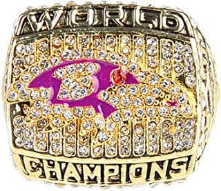 Gloral HIF Baltimore Ravens Championship Ring Super Bowl Replica Ring for Fans sz 11 with Display Wooden Box