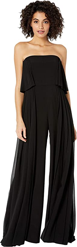 Strapless Pleated Insert Wide Leg Jumpsuit