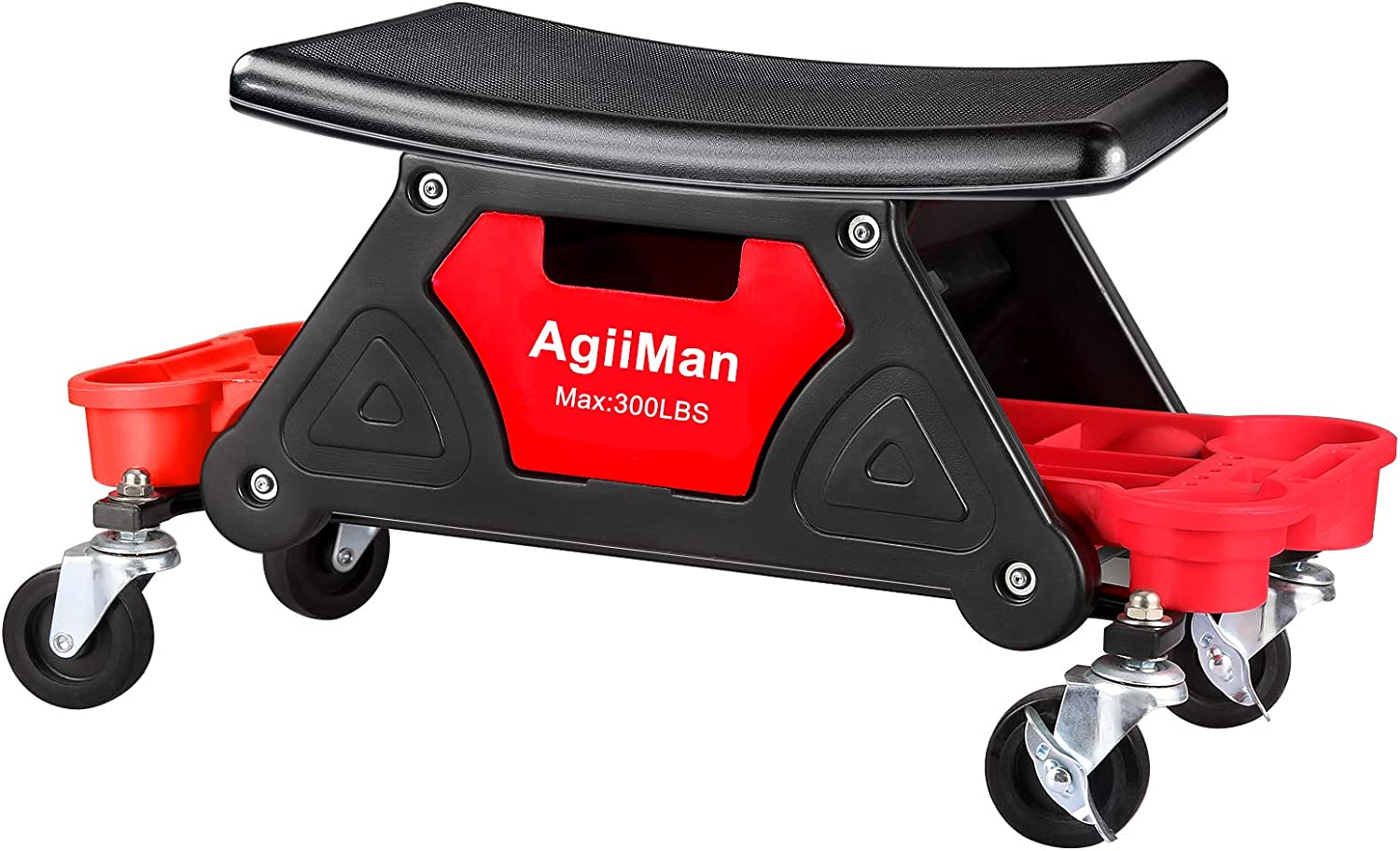 AgiiMan Mechanic Stool - Detailing Garage Rolling Stool with Wheels, Roller Creeper Seat Chair Repair Tools Tray, 2 Tool Storage Drawers Under Seat, 300 Lbs Capacity: Automotive