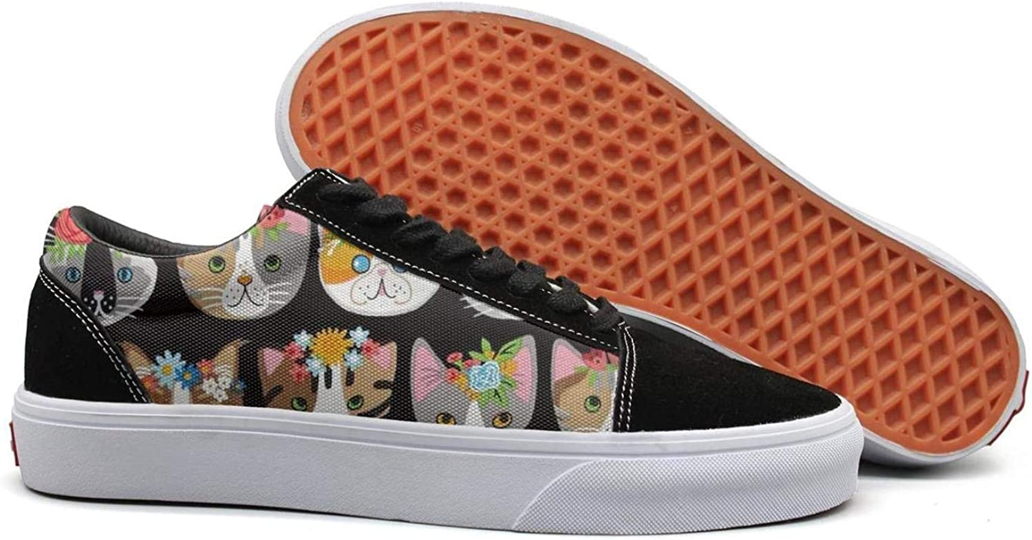 Flowers cat face Womens Lace up Sneakers shoes Canvas Upper