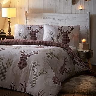 Portofino Tartan Check Stag Deer Animal Quilt Duvet Cover Bedding Set & Pillowcase UK Double Natural