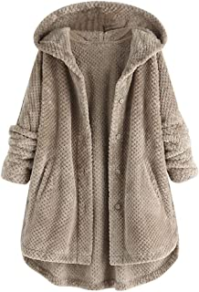 Forthery Hooded Faux Fur Coats for Women Long Teddy Bear Jacket Button Fluffy Pullover Loose Sweater