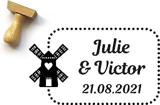 Timbro personalizzato con mulino e con nomi e data, rettangolo, 5 x 3 cm, stile olandese