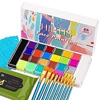 Deals on HIPTIS 26 Colors Halloween Face Paint Kit w/6 Glow Colors