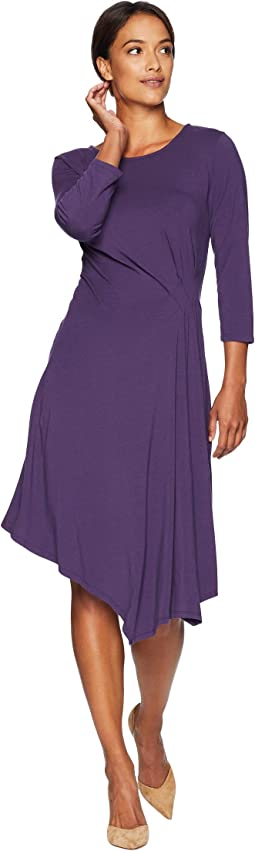 Cotton Modal Spandex Jersey 3/4 Sleeve Side Tuck Dress