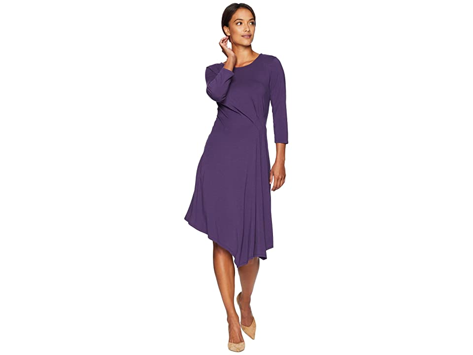 Mod-o-doc Cotton Modal Spandex Jersey 3/4 Sleeve Side Tuck Dress (Vintner) Women