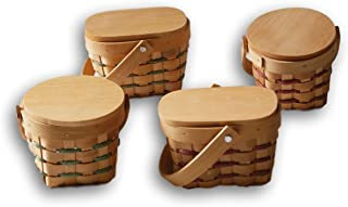 Mini Country Basket with Wooden Lid - Set of 4