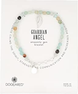 Dogeared - Gem Bracelet, Guardian Angel, Angel Wing Charm, Amazonite Bead