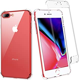 BENTOBEN iPhone 8 Plus Case, iPhone 7 Plus Case, Clear 2 in 1 Shockproof Slim Transparent TPU Bumper Protective Phone Cases Cover for iPhone 8 Plus / 7 Plus [Without Screen Protector], Crystal Clear