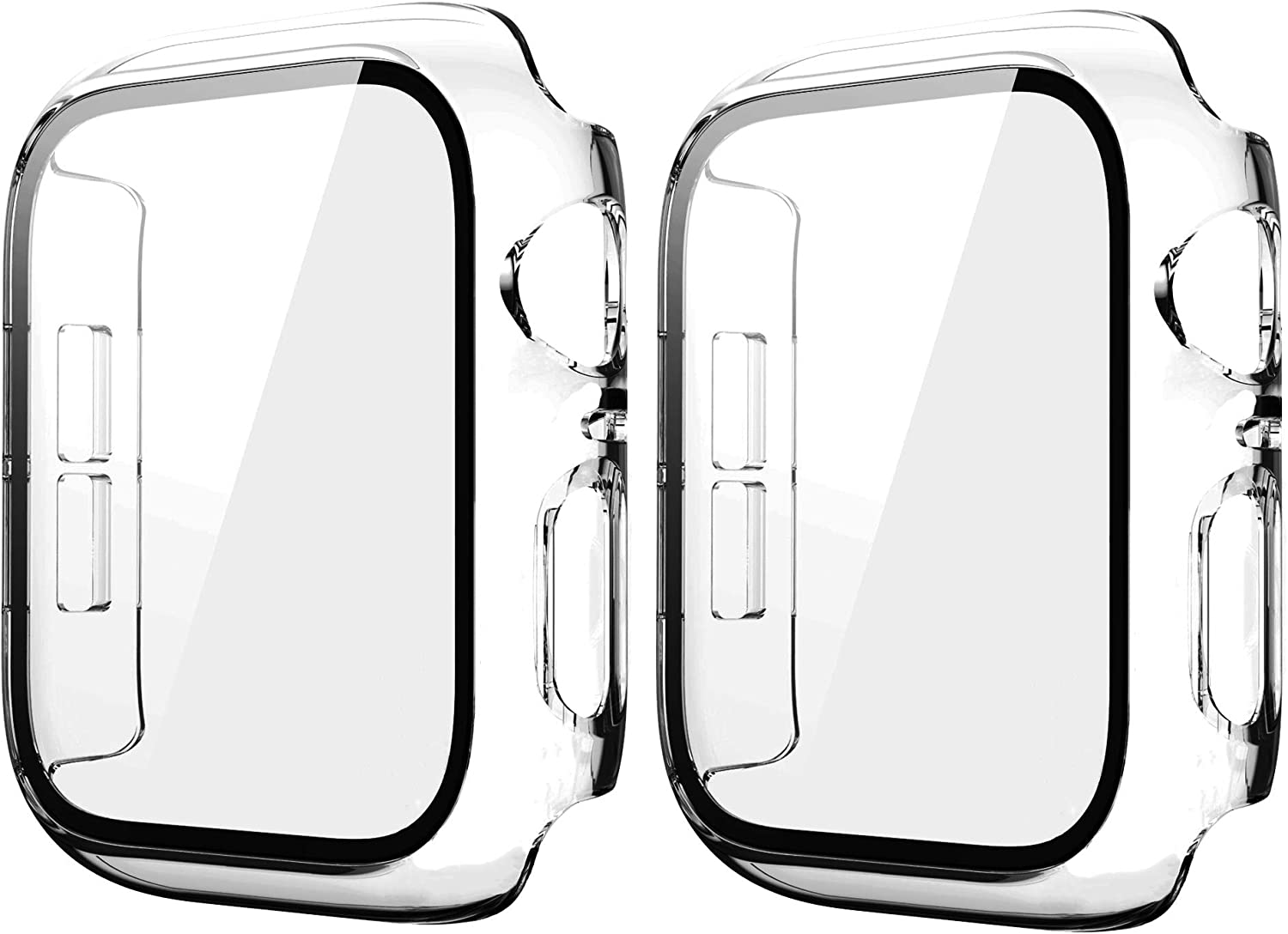 2 OFFicial shop Pack Clear 40mm Super sale Case for Apple Series Se 6 4 Watch Tempered 5