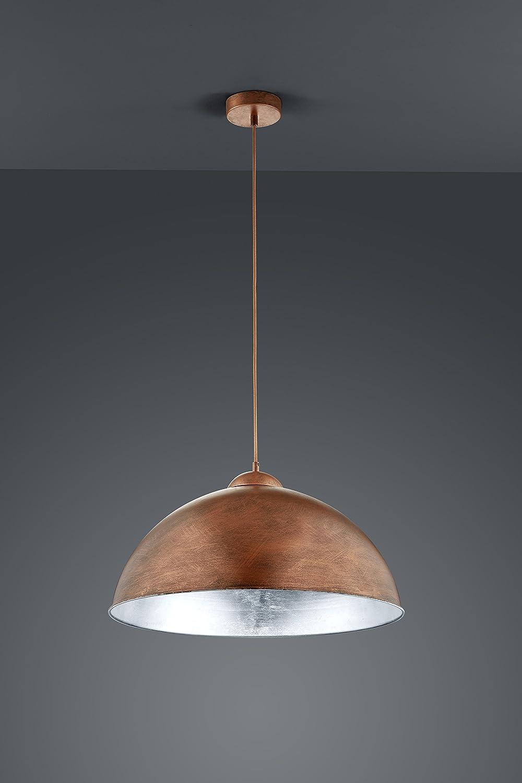Trio Leuchten Pendelleuchte Romino II in schwarz matt, Schirm innen goldfarbig 308000132 Kupfer/Silberfarbig