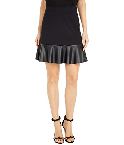 MICHAEL Michael Kors Ponte Leather Mix Skirt (Black) Women