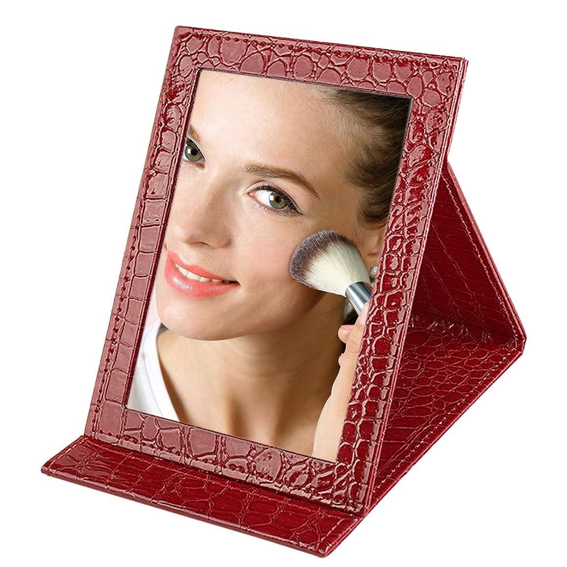 ソース床細断化粧鏡 卓上 折立ミラー かわいい スタンドミラー 角度調節可能 メイク鏡 ミラー 折り畳み可能 携帯に便利 合成革製 おしゃれ メイク用 ミラー レッド