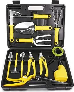 MOSFiATA Garden Tool Set 14 Pcs Stainless Steel Garden Tool Kit with Carrying Case, Heavy Duty Gardening Work Set, Include Pruner, Mini Rake, Big and Small Shovel, Sprayer, Weeder, Scissor etc.