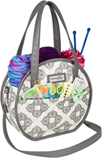Everything Mary Round Knitting & Yarn Organizational Storage Tote Bag - Stores Yarn, Knitting Needles, Projects & Accessories - Portable Travel Organizer for Knitting, Crochet, Yarn, and Needlework