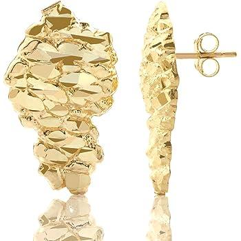 Amazon Com Mens 10k Yellow Gold Nugget Earrings Clothing