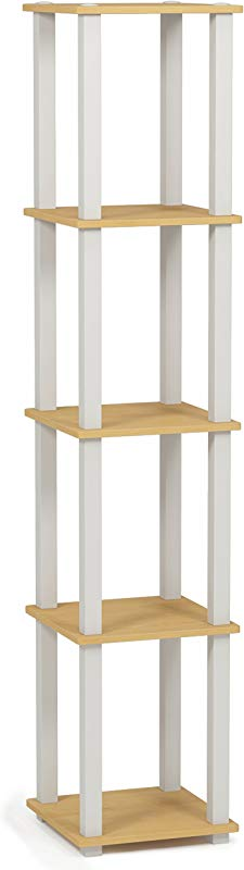 Furinno 18026BE WH Turn S 5 Tier Compact Multipurpose Shelf With Square Tubes Beech White