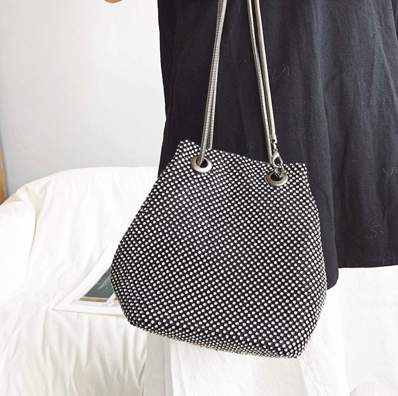 Vgift Luxury Full Rhinestone Bucket Bag Bling Evening Bag Purse for Women