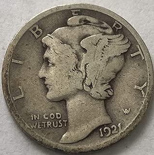 1921 P Silver Mercury Semi Key Date Dime Very Good