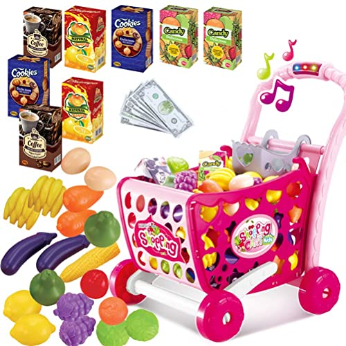 da7e279db3a3 Kids Shopping Trolley Role Play Toy with Fruit Vegetable food Accessories  Music and Light,Pink