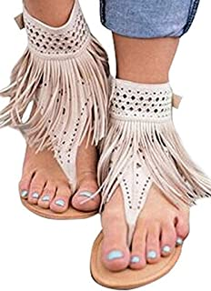Womens Suede Tassels Thong Flat Sandals Flip Flops Fringe Shoes